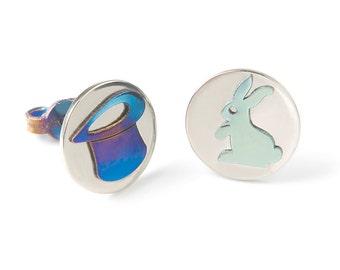 Wizard earrings, tiny top hat, magic hat, titanium earrings, rabbit, silver earrings blue, teen jewelry funny, women jewelry, hypoallergenic