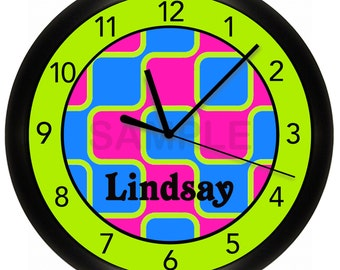 Green Pink and Blue Wall Clock
