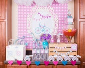 Girl Bicycle Themed Birthday Party- full collection of 7 items - in pink, wild orchid and blue, chevron and hearts- bike party- you print