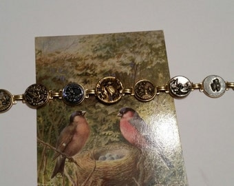 ANTIQUE BIRD BUTTON Bracelet 1890 victorian birds swans Owl Stork