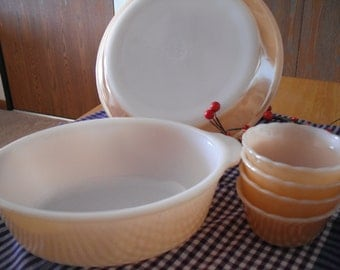 Vintage Fire King Peach Luster Milk Glass Baking Dishes Oval Casserole Pie Plate and Scalloped Custard Cups Made in USA