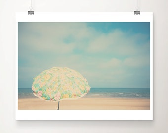 beach umbrella photograph beach photograph beach decor coastal print ocean photograph retro umbrella print landscape photograph
