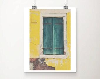 Venice photograph Burano photograph teal shutters photograph window photograph yellow home decor teal shutters print Venice print