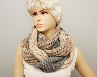 Chunky crochet knitting scarf, infinity loop crochet scarf , chunky crochet scarf ,big crochet scarf,   SILVER GREY