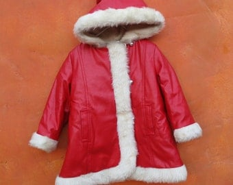 Vintage Mid Century Girl's 1960s Mod Faux Fur Pleather hooded Red Winter Jacket Coat. Silver buttons. Hood. 5T 6x
