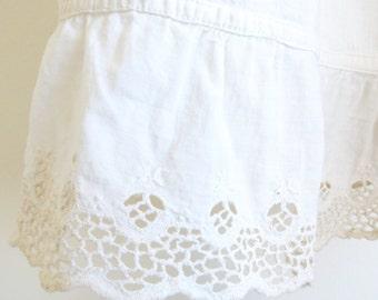 Vintage Victorian Skirt, Antique White Petti Coat, long White Cotton Skirt, Edwardian Slip