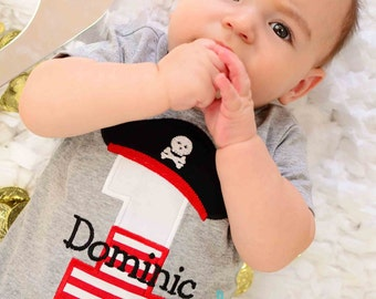 Boys Pirate Birthday Shirt-Any number or age--Embroidered shirt or Bodysuit