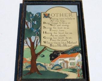 Vintage Framed Mother Poem: Mothers Day Motto, Chippy Carved Wood Frame