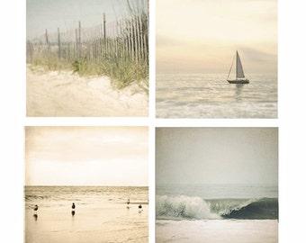 Beach Photo Set, beach photography, beach decor, ocean print four beach photos, sailboat, ocean art, beach house decor, ocean decor, seagull