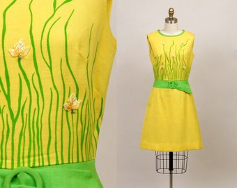 1960's linen dress in summertime yellow