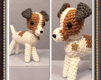Crocheted Jack Russell Terrier - Amigurumi dog - crocheted dog - handmade dog - stuffed dog