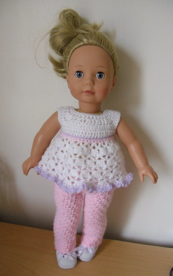 Crochet Dress Up Doll Pattern : PDF Crochet pattern for dress and trousers for 18 inch doll
