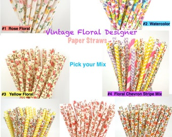 Vintage Floral Designer Paper Straws / Vintage Wedding / Paper Drinking Straws / Choose 25, 50, 75, 100 Paper Straws Vintage/  Biodegradable