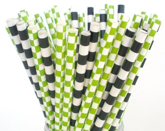 Paper Straws Minecraft Party Mix Paper Drinking Straws Green & Black Paper Straws Creeper Enderman Ghast Birthdays Pack of 25 Paper Straws