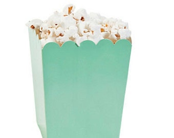 Mint Green Popcorn Boxes 12 ct. Treat Boxes / Favor Boxes / Candy Boxes /  Popcorn Boxes / Wedding Favors / Birthday Favors