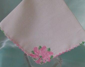 White Linen Hankie Pink Crochet Flower Ladies Hankies Vintage Hankies Collectible Hankie Pink Crochet Edge Hanky Accessory Womens Hankies