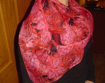 Red Patterned Neck Scarf, Liz Sinclair Neck Scarf, Square Neck Scarf, Ladies Neck Scarf, Made in India, Polyester Fabric, Ladies Accessory