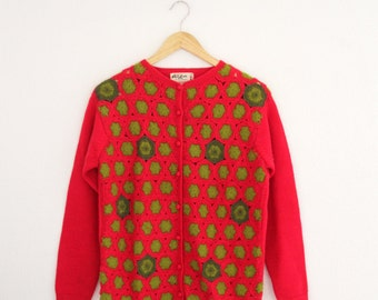 1960s Cardigan Sweater Crochet Patch Front Pink Green Geometric Phil Rose Womens Vintage Medium
