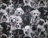 Dogs Puppies Realistic Black White Cotton Fabric Fat Ouarter or Custom Listing