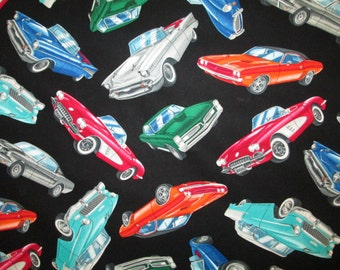 Classic Cars Vintage Car Black Cotton Fabric Fat Quarter or Custom Listing