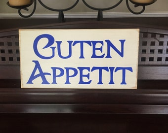 GUTEN APPETIT German Old World Bavarian Kitchen Dining Room Sign Germany Plaque Food Oktoberfest Wooden Deutschland Pick Color Hand Painted