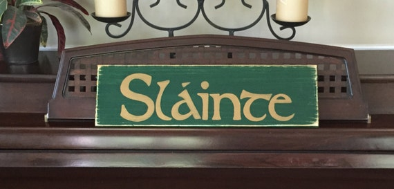 SLAINTE Irish Ireland Sign Plaque Wood Happy St Saint Patrick's Day Cheers You Pick Color Hand Painted Wooden