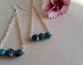 beautiful turquoise & black dangle triangular earrings, modern, hippie,  geometric, bohemian jewelry, boho chic, handmade  earrings, unique