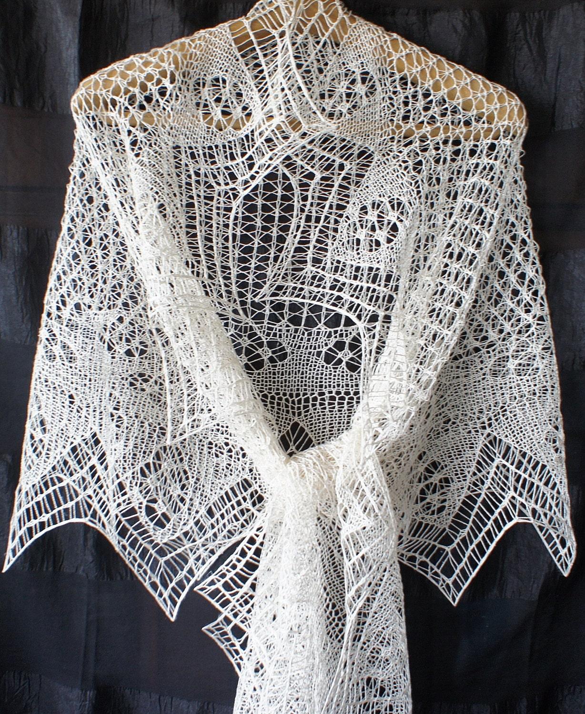 Knitting Shawl : Handknit shetland lace white silk shawl knitted