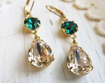 Emerald Earrings Vintage Earrings Swarovski Champagne Gold Earrings Estate Style Dangle Earrings Bridesmaid Gift Bridal Jewelry Gift for Her