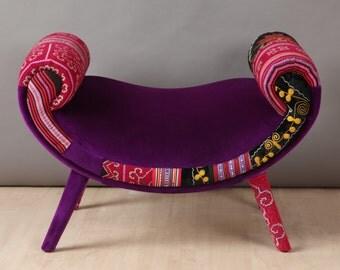 Smiley patchwork pouf - purple love