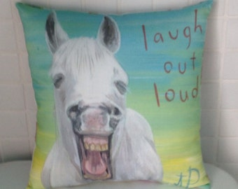 Lol Laughing white horse pillow