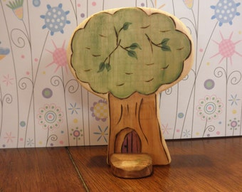 Wood Toy-TREE with Tenant Habitat -Footing - Waldorf Inspired