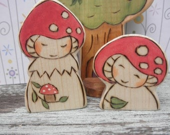 Wood Toys FLY AGARIC GNOMES Sisters- Waldorf-Natural-Kid Friendly