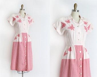 vintage 1940s dress // 40s novelty butterfly dress