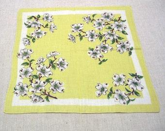 Vintage Dogwood Blossom Printed Cotton Handkerchief