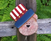 Americana bear, Uncle Sam, 4th of July decoration, USA bear, hand painted outlet cover, patriotic, Americana decor,