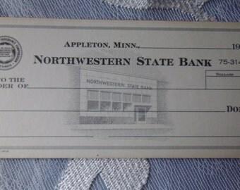 Vintage Counter Checks Blank Northwestern State Bank Appleton Minnesota