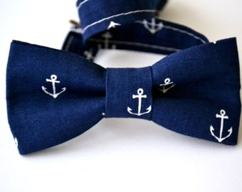 Children's Bow Tie Ages 2-10 Navy Blue with White Anchors