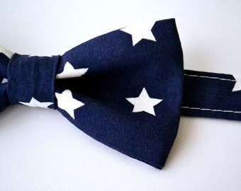 Bowtie- Navy Blue with White Stars