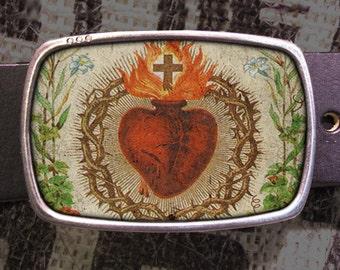 Sacred Heart Belt Buckle, Religious Buckle 549