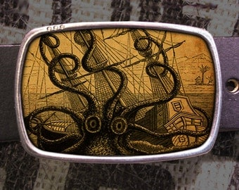 Belt Buckle, Octopus Attacks Belt Buckle, Vintage Inspired Belt Buckle, Retro Cool 566