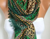Green Floral Cotton Scarf, Soft, Shawl, Spring Summer Scarf, Cowl Oversized Wrap Gift Ideas For Her Women Fashion Accessories Women Scarves