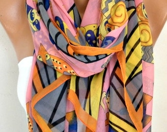 CAT Print Cotton Scarf, Shawl, Summer, Cowl Oversized Wrap,Gift Ideas For Her, Women Fashion Accessories, Teacher Gift, Women Scarves