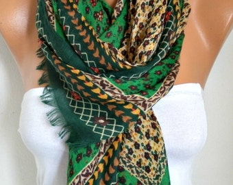 Green Floral Cotton Scarf, Soft, Shawl,Fall winter Scarf, Cowl Oversize Wrap Gift Ideas For Her Women Fashion Accessories Women Scarves