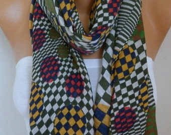 Polka Dot Cotton Scarf,Spring Summer Fashion, Shawl,Cowl,Oversized Wrap Gift Ideas For Her, Women Fashion Accessories, Women Scarves
