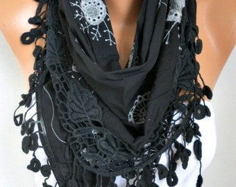 Black  Embroidered Floral Cotton Scarf,Fall Cowl Bridesmaid Gift Bridal Accessories Gift Ideas For Her Women Fashion Accessories