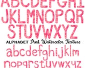 Pink Watercolor Alphabet Letter Clipart, Instant Download, Commercial Use Images, Pink Watercolor Clip Art