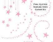 80% OFF SALE Sparkling Pink Blush Glitter Star Clipart, Swirling Stars Clip Art, Instant Download, Commercial Use Glitter Clipart