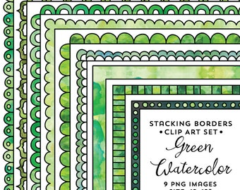 Green Watercolor Frames, Square Frame Clipart Set, Green Clipart, Stackable Doodle Borders, Instant Digital Download
