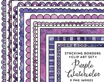 8.5x11 Stacking Border Frame Set, Purple Watercolor Frame Clipart, Purple Watercolor, Instant Download